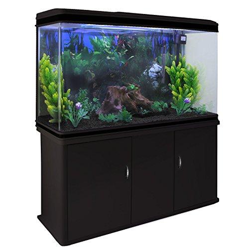 MonsterShop Aquarium Starter Komplettset Aquarium mit passendem Unterschrank inklusive Pflanzen, Kies 43.5cm H x 120.5cm B x 39cm T Schwarz